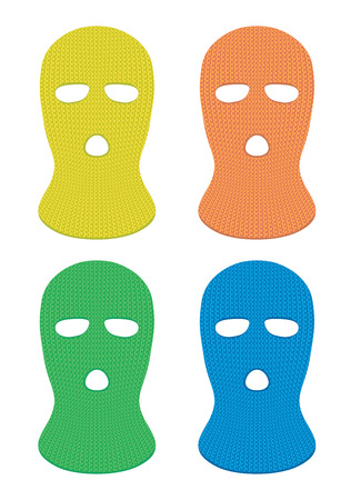 concealment: Set of four ski masks that can be placed on the head of a person.