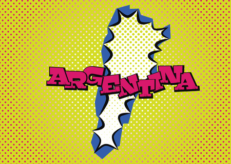Argentina map in pop art style, silk print dots and special lettering.