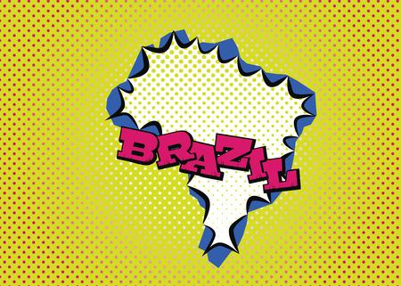 Brazil map in pop art style, silk print dots and special lettering. Ilustração