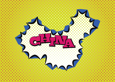 China map in pop art style, silk print dots and special lettering. Ilustração