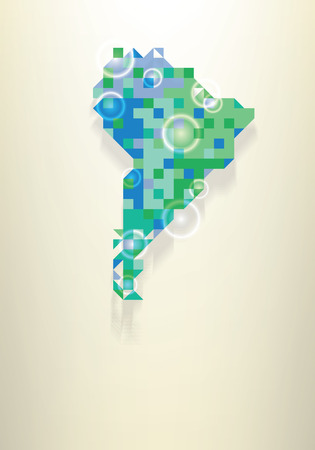locate: Blue map of the South America with round white transparent rings overlay that can be used to locate different points