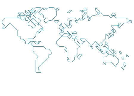 rounded squares: World map drawn with thin line on a invisible grid of rounded squares and triangles