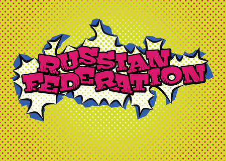 Russian Federation map in pop art style silk print dots and special lettering.