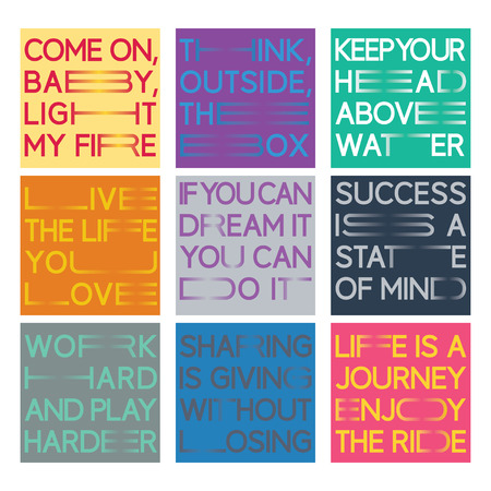 Quote set in a new minimalistic lettering style with horizontally elongated typography. Nine sayings are included.