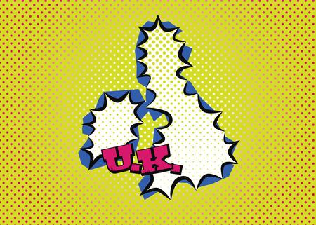 United Kingdom map in pop art style silk print dots and special lettering. Ilustração