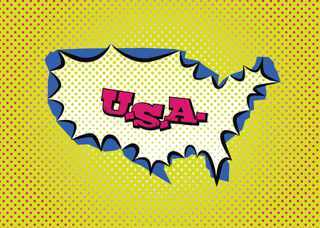 United States of America map in pop art style silk print dots and special lettering.