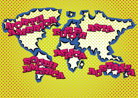 World map in pop art style silk print dots and special lettering.