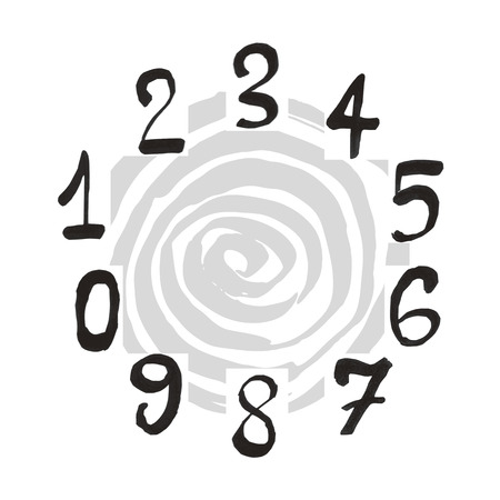 separately: Numerals set. Each number is grouped separately. Design elements were created with Chinese ink and calligraphic pen.
