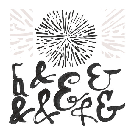 dashes: Ampersand set and a sunburst. Each symbol is grouped separately, there are 8 ampersands, 1 sunburst and decorative shapes. Design elements were created with Chinese ink and calligraphic pen.