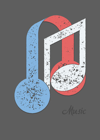 metaphorical: Musical note and headphones metaphorical composition with sample text. Grunge texture flat colors