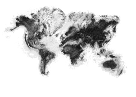 Charcoal artistic vector world map. The monochrome hand made design provides a fresh look over the world. Neatly stacked overlapping color shapes. Ilustração