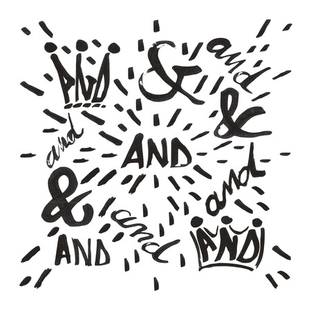 grouped: Ampersand and and typo set. Each symbol is grouped separately, there are 11different symbols and additional decorative shapes. Design elements were created with Chinese ink and calligraphic pen.