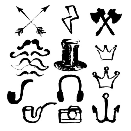 separately: Hipster symbols set. Each symbol is grouped separately, there are 15 different symbols. Design elements were created with Chinese ink and calligraphic pen.