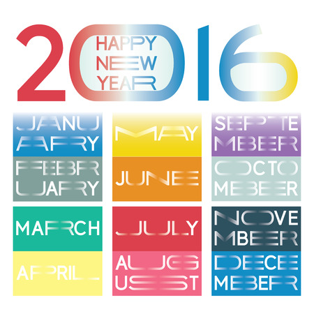 elongated: 2016 calendar in a  new minimalistic lettering style with horizontally elongated typography. Names of the months and the wish for a happy new year are included.