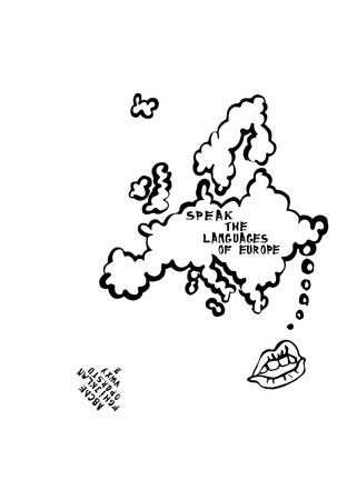 language learning: Language learning map with mouth speaking cartoon, the map is a speech bubble. Europe.