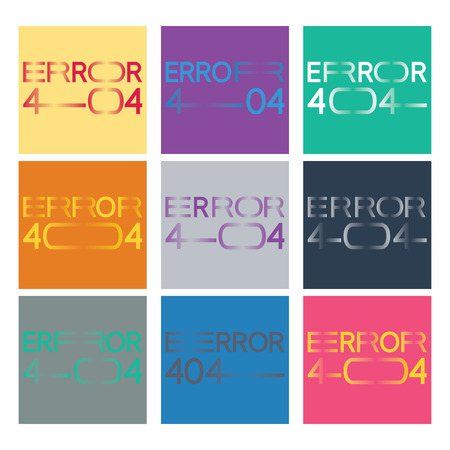 elongated: Error 404 set in a new minimalistic lettering style with horizontally elongated typography. Nine versions are included.
