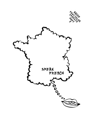 language learning: Language learning map with mouth speaking cartoon, the map is a speech bubble. France.