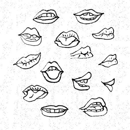 hand in mouth: Lips set, attractive human mouths. Cartoon mouth icons. Every mouth represents a different style and emotion.