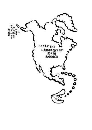 sketched shapes: Language learning map with mouth speaking cartoon, the map is a speech bubble. North America. Illustration