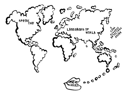 language learning: Language learning map with mouth speaking cartoon, the map is a speech bubble. World.