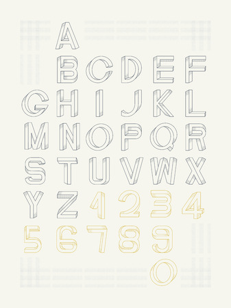impossible: Impossible font set, including numerals. Raster dots pattern is applied.