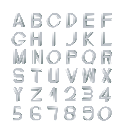 numerals: Impossible font set, including numerals. Silver gradients with edges.