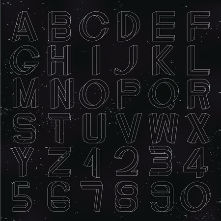 surrealistic: Impossible font set, including numerals, on dark textured backdrop.