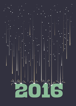 meteor shower: Meteor shower falling on 2016 in portrait format Illustration