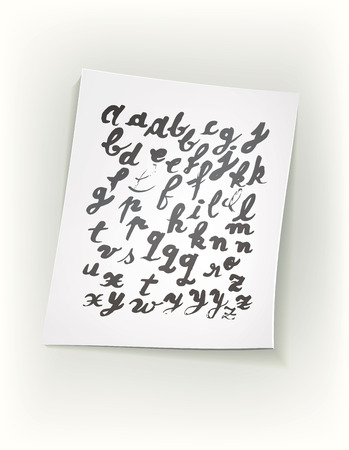 chinese alphabet: Sheet of paper with ink alphabet. Design elements were created with Chinese ink and calligraphic pen. Illustration