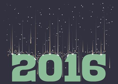 meteor shower: Meteor shower falling on 2016 in landscape format Illustration