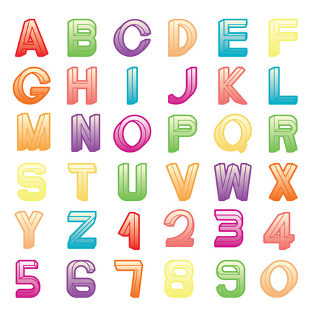 numerals: Impossible font set, including numerals, rainbow colors and gradients are applied.