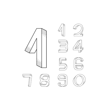 numerals: Impossible numerals set from 0 to 9 with big initial 1. Illustration
