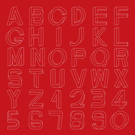 numerals: Impossible font set, including numerals. Illustration