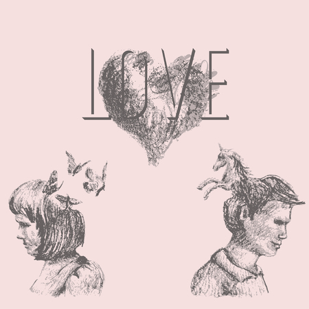 Artistic drawing of love concept with a couple and fantastic imagery. The text Love, the heart, the woman and butterflies, the man and unicorn are each grouped separately.