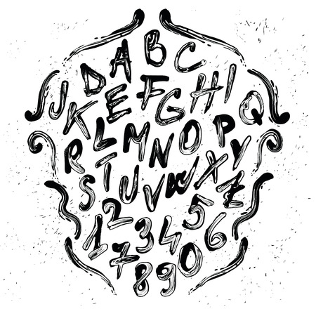 majuscule: Smudged brush alphabet with numbers. Each element is grouped separately. Illustration