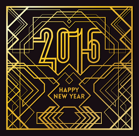 events: 2016 Greeting Card in Art Deco Gold Style