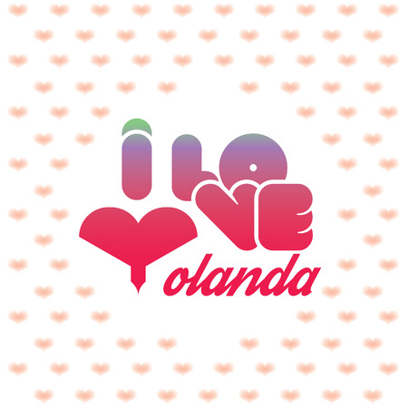 beloved: I love Yolanda greeting card with heart shaped initial of the beloved one
