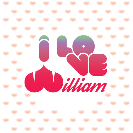 beloved: I love William greeting card with heart shaped initial of the beloved one