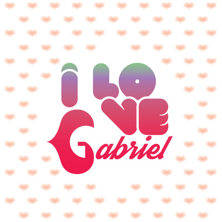 beloved: I love Gabriel greeting card with heart shaped initial of the beloved one
