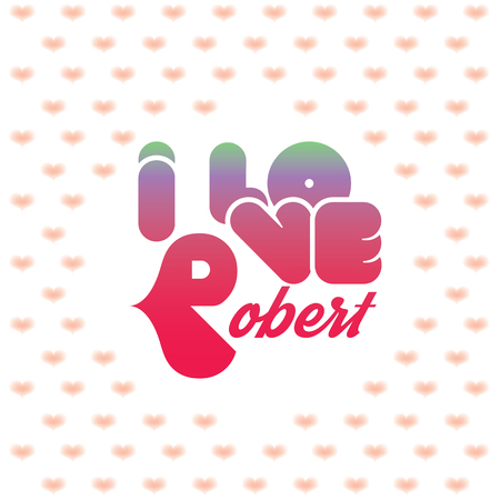 beloved: I love Robert greeting card with heart shaped initial of the beloved one
