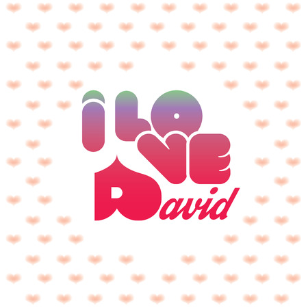 beloved: I love David greeting card with heart shaped initial of the beloved one Illustration