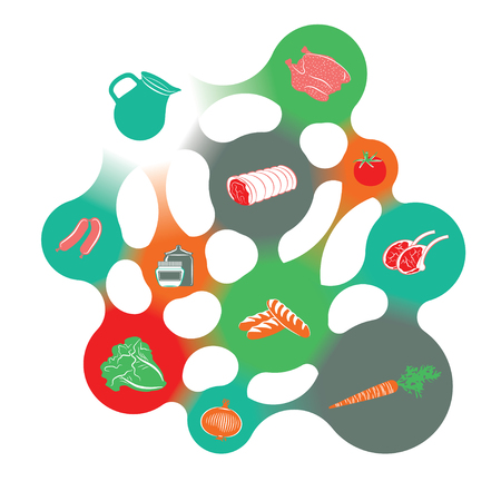 food shop: Food infographic in the shape of a colorful metaball structure.
