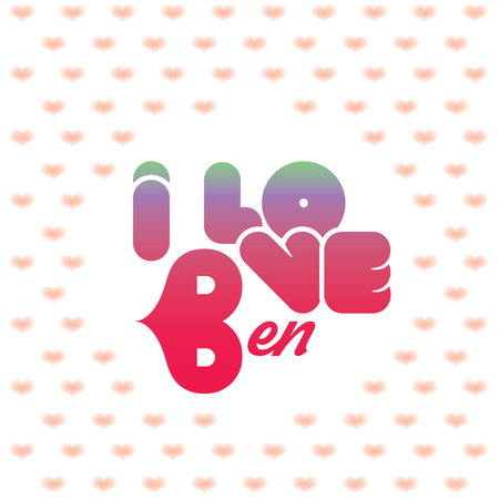 beloved: I love Ben greeting card with heart shaped initial of the beloved one Illustration