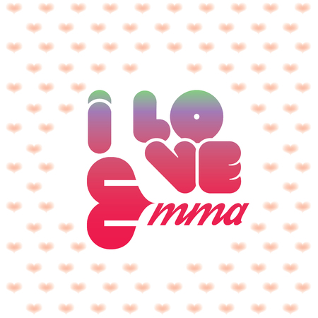 beloved: I love Emma greeting card with heart shaped initial of the beloved one