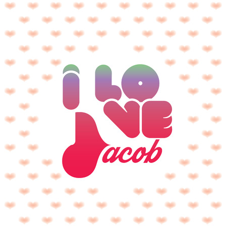 beloved: I love Jacob greeting card with heart shaped initial of the beloved one