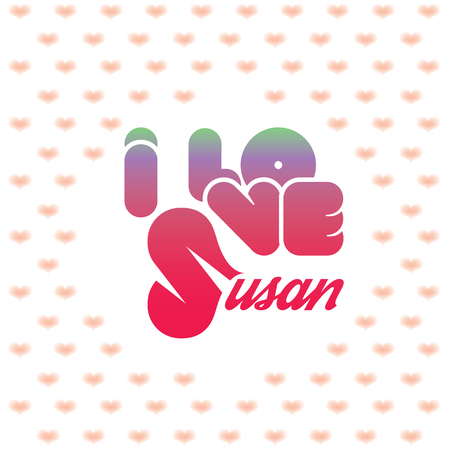beloved: I love Susan greeting card with heart shaped initial of the beloved one