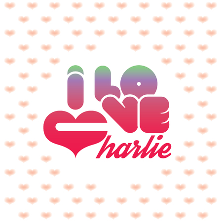 charlie: I love Charlie greeting card with heart shaped initial of the beloved one Illustration