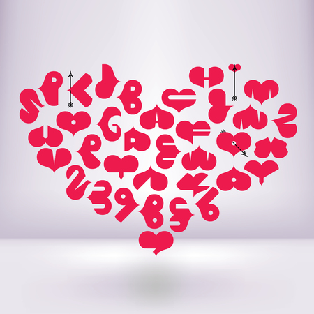 numerals: Heart shaped font with letters and numerals in a white room Illustration