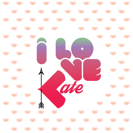 beloved: I love Kate greeting card with heart shaped initial of the beloved one