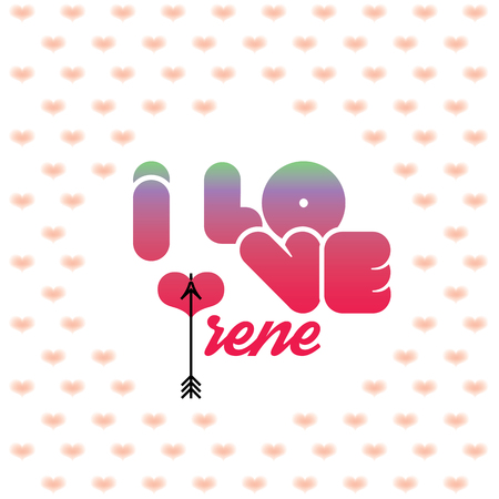 beloved: I love Irene greeting card with heart shaped initial of the beloved one